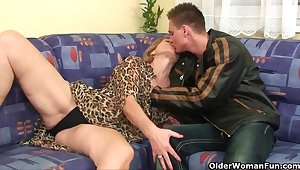Cock crazed grandma fucks all the guys