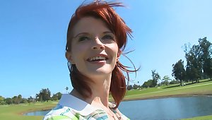 Golfing redhead MILF with reference to action