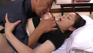 Busty Japanese Mature fucks 2 men