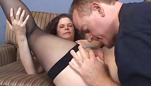 Mature amateur just about fishnet giving a blowjob before being drilled hardcore