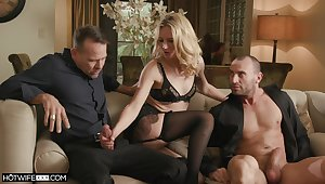 Blonde trollop deals these often proles respecting great care and lust in sensual trio