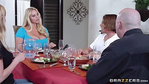 Mammoth tits of age Karen Fisher pleasures a sponger in the kitchen