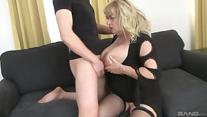 Adult slut plays with her large tits and gets ass fucked good