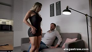 Thick thighed MILF with huge tits added to fat ass having sex after a romantic date