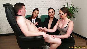 MILFs in hot office outfits, dippy CFNM more than a single dick