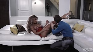 Nude porn star fucked on the couch plus soaked in fresh jizz