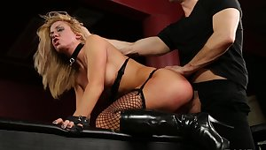 Chesty sub Parker Swayze released from a cage and fucked at the end of one's tether her Dom