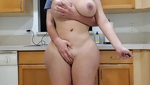 Seething female parent and sonny in kitchen