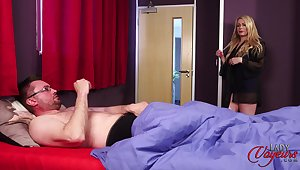 Nice boobs mature Penny Lee takes not present her clothes to make him hard
