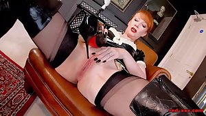 Sexy maid Red XXX fucks a bottle be incumbent on sparkling wine