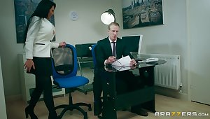 Office MILF is keen to have the boss's endless dick in her cunt