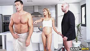 Compacted tits blonde wife Veronica Leal gets fucked by a handful of dudes