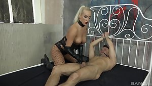 Dominant MILF treats her male slave with rough handjob