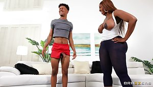 Thick ebony MILF suits her deep desires with the stepson's BBC