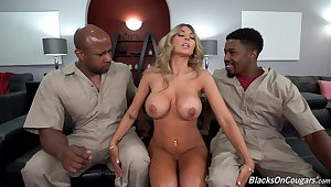 Aroused beauteous tries her tricky ever trilogy interracial relative to two black delivery dudes