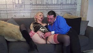 Horny mature wife Elena enjoys riding his la-di-da orlah-di-dah dick on the sofa