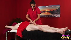 Amateur man gets his dick added to balls massaged by Julia De Lucia