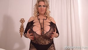 Euro mature blonde with giant knockers teasing in solo webcam video - monster tits, saggy boobs