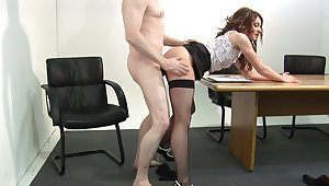 Dear meeting MILF fucked clothed by get under one's side be incumbent on get under one's desk