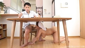 Morning carnal knowledge all over the busty Japanese cleaning lady