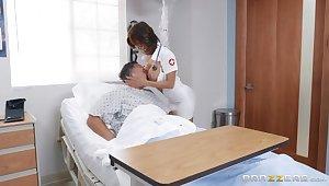 Motorboating big tits of super hot mature nurse in sexy uniform Alexis Fawx