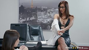 College babe Jenna Sativa is fucked by lesbian dean Isis Love in her office