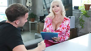 Busty, blonde saleswoman, Victoria Lobov, pulls out the big guns and seduces a guy to make a sale